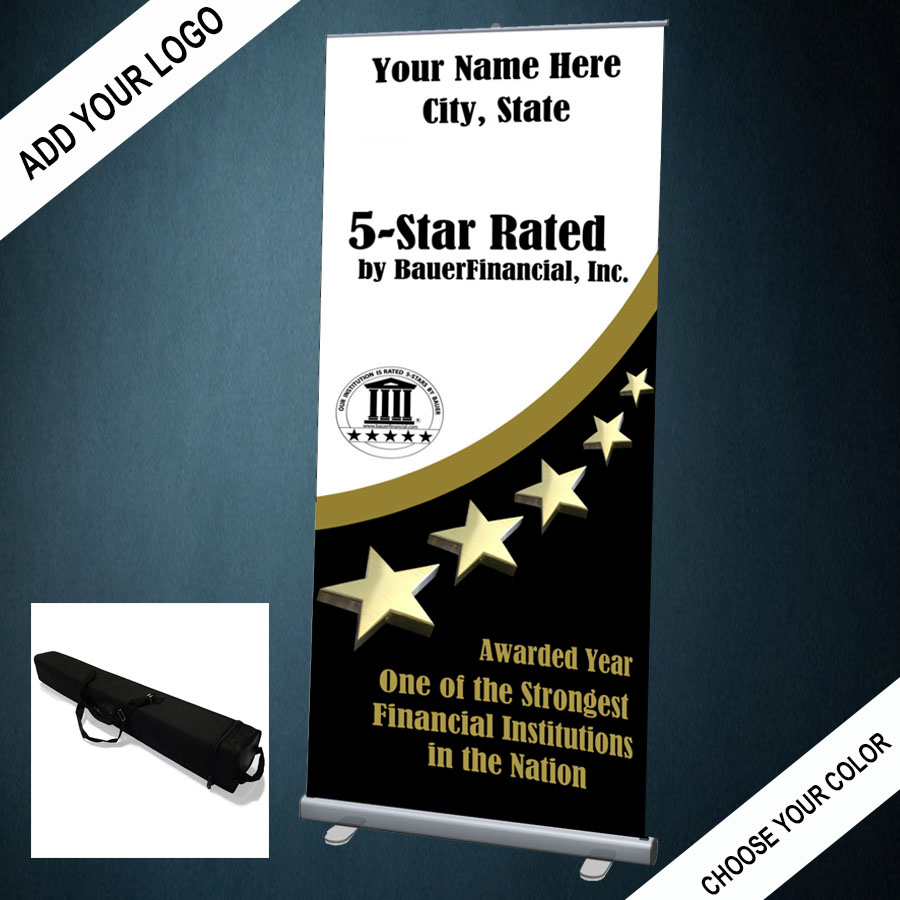 The 5-star retractable banner comes wiuth its own convenient carrying case and can be personalized with your institution's logo and colors.