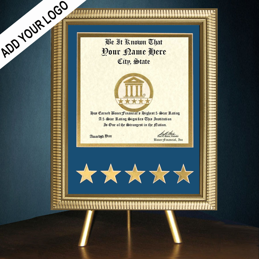 5-Star Gold-Framed Recognition Award in Blue Matting on top of a gold table top easel