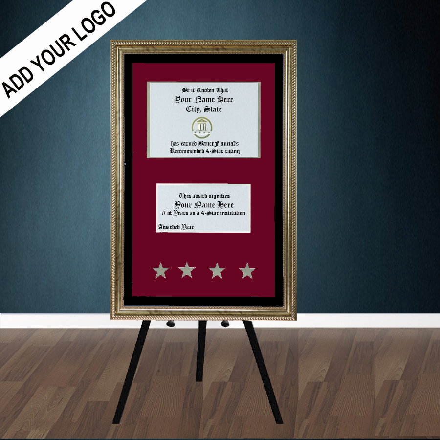4 Star Gold-framed Elegant Easel display with crimson on black matting