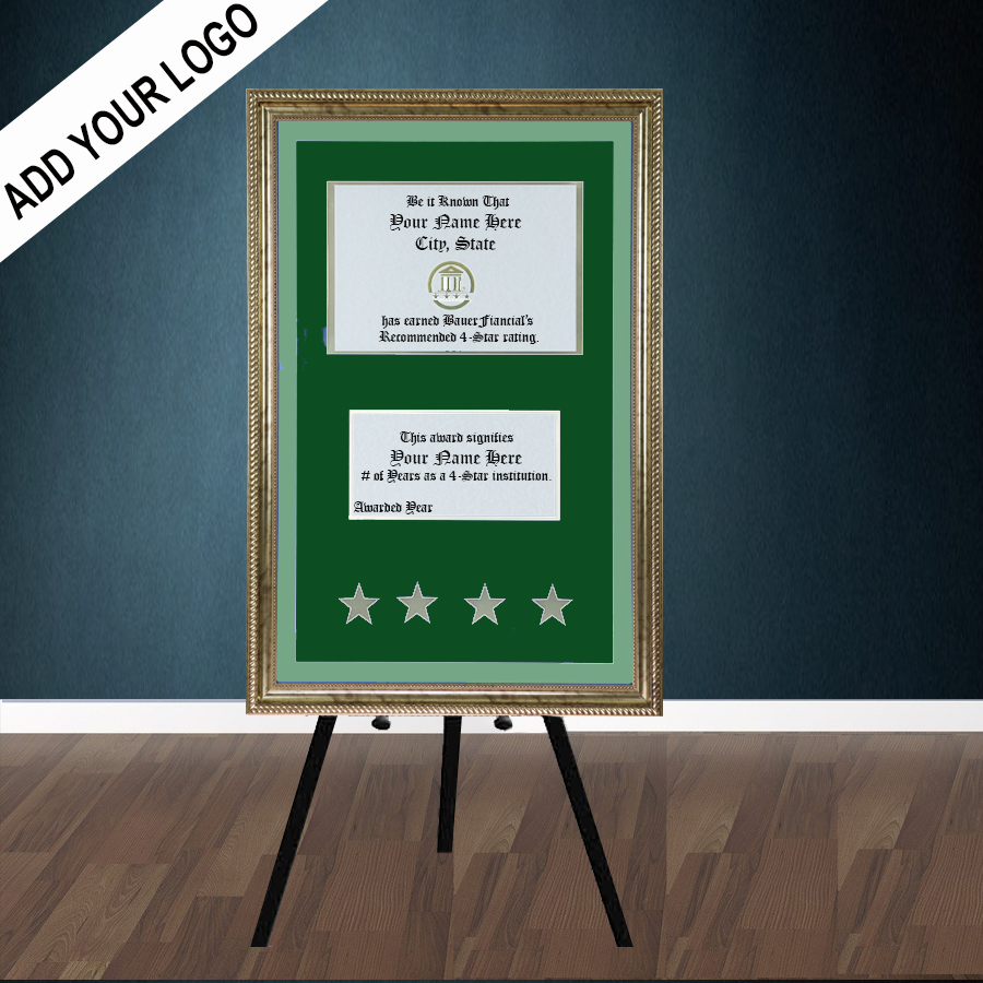 4 Star Gold Framed Easel Lobby Display with Two tone green matting