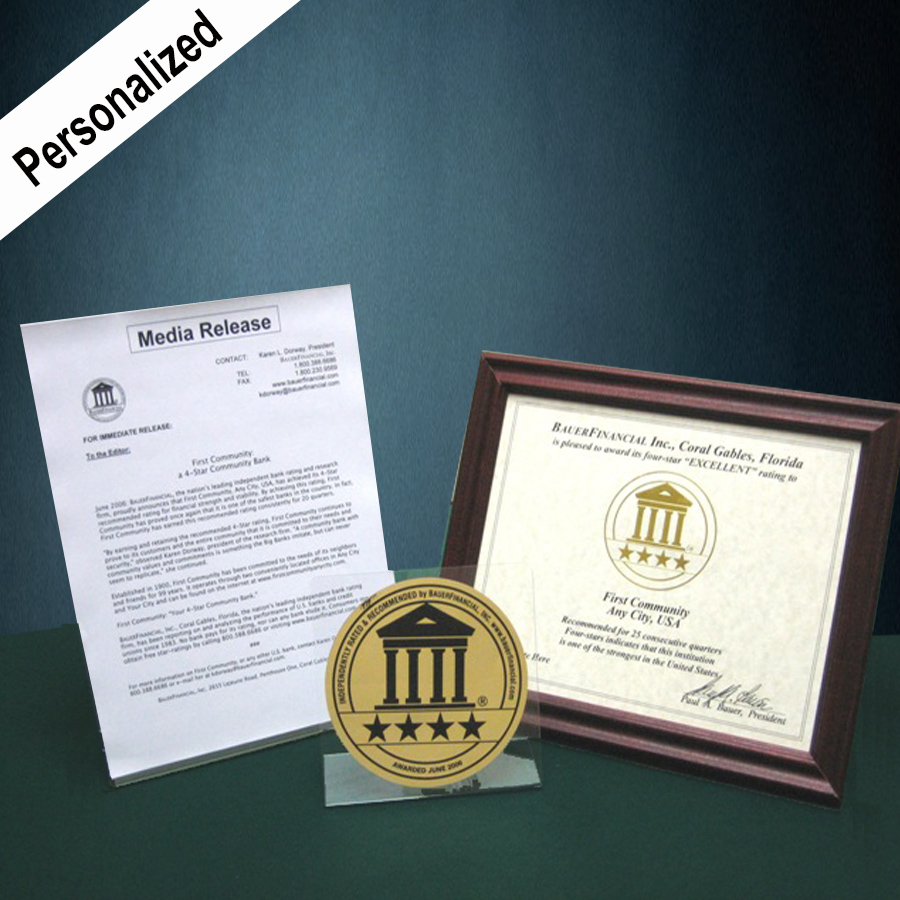 4-Star marketing package includes a personalized media release and award certificate as well as a 6 inch gold and black decal