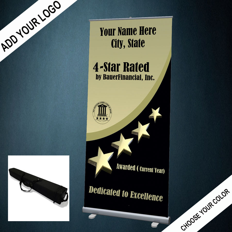 Personalized 4-Star Retractable Banner with carrying case is pictured in Gold and Black