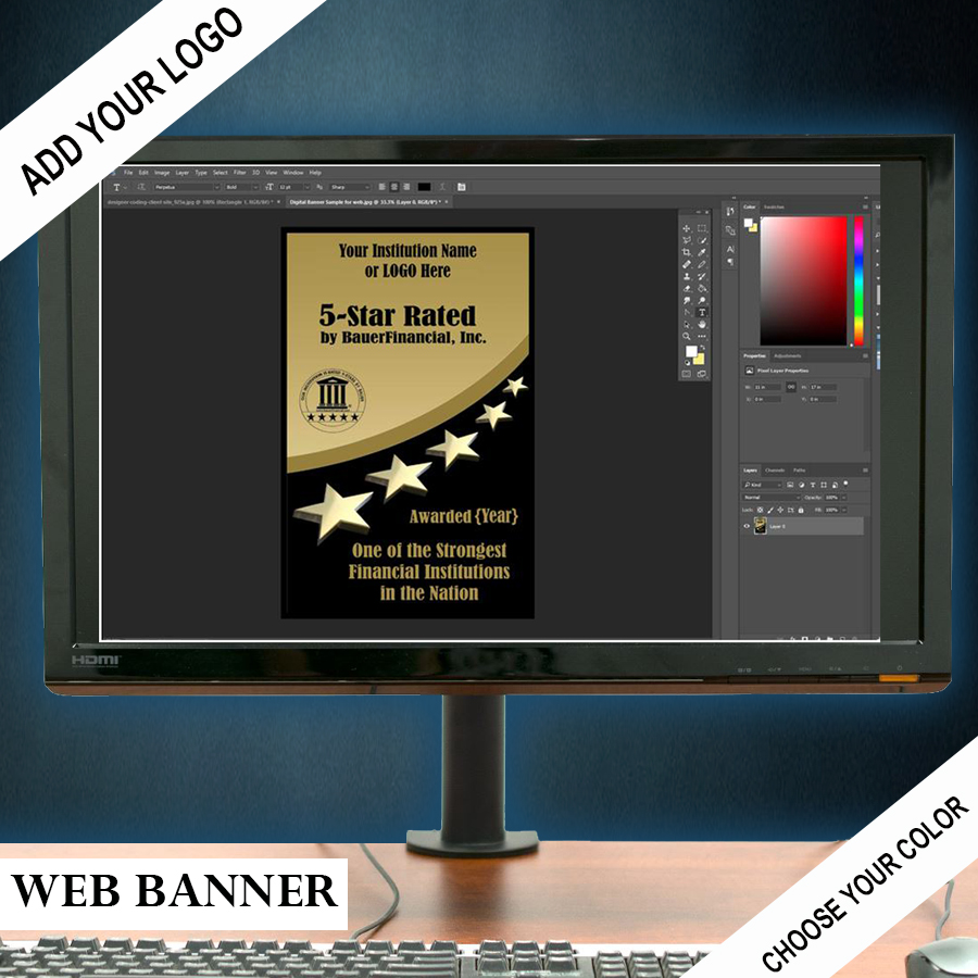 5 star web banner for digital marketing is shown in gold and black but may be customized with your institutions logo and colors.
