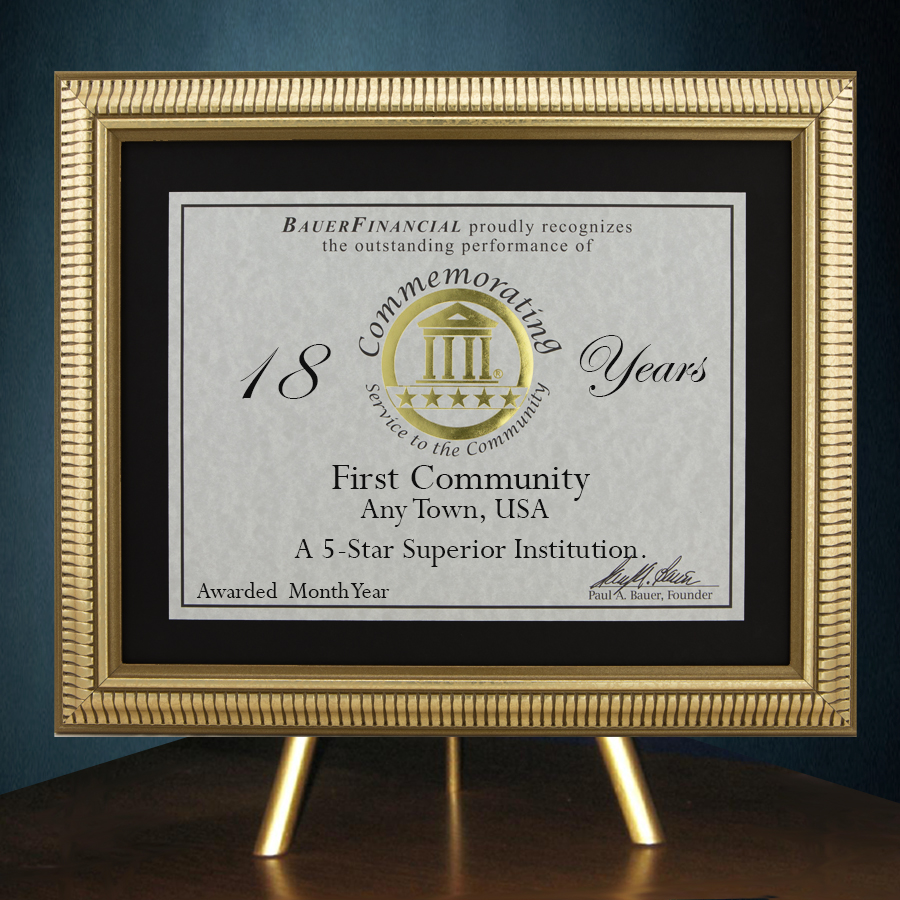 5-Star Gold-Framed Anniversary Award in Black Matting on top of a gold table top easel