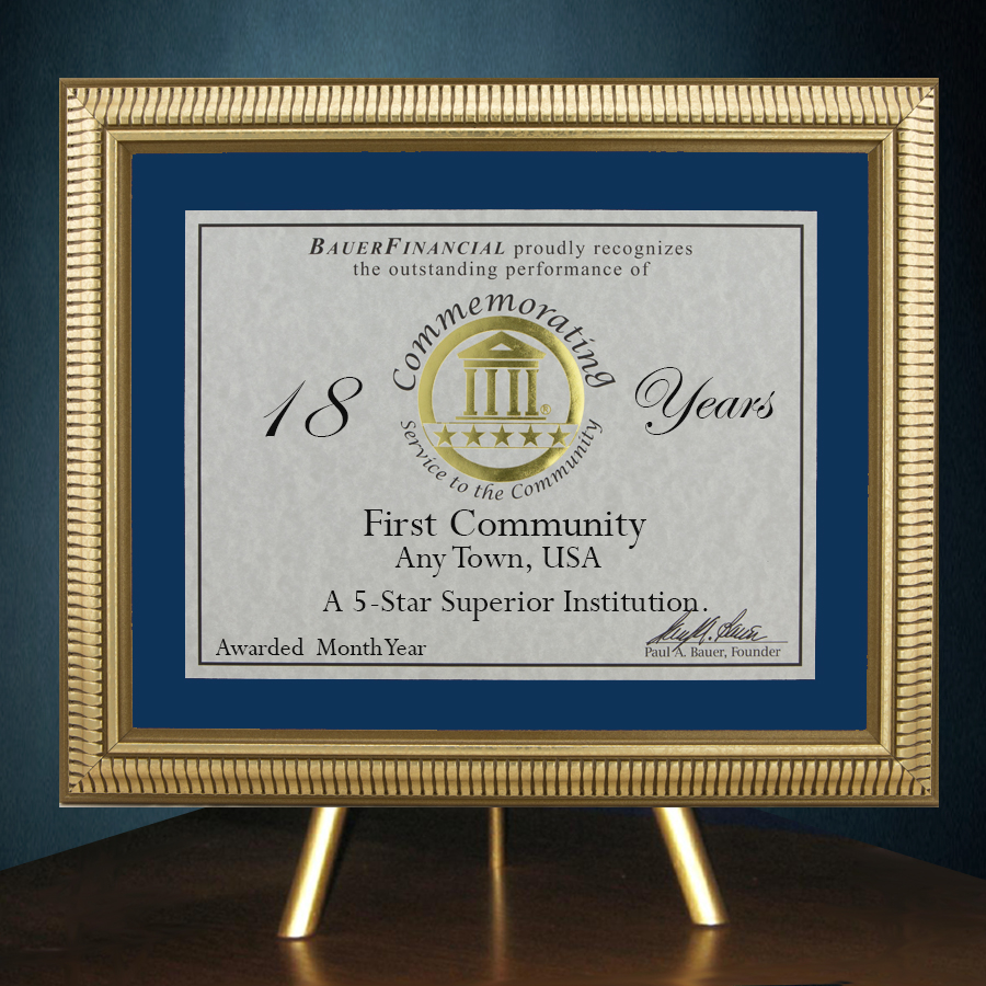 5-Star Gold-Framed Anniversary Award in Blue Matting on top of a gold table top easel