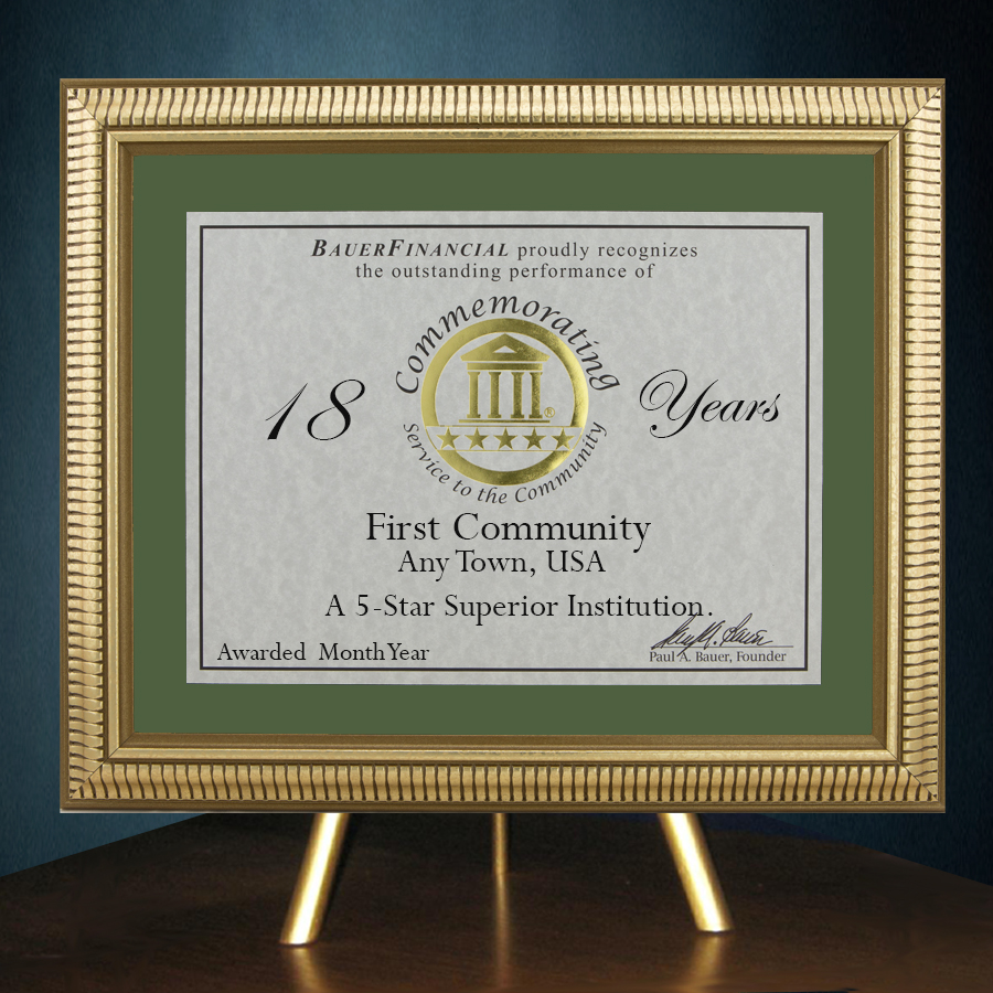 5-Star Gold-Framed Anniversary Award in Green Matting on top of a gold table top easel