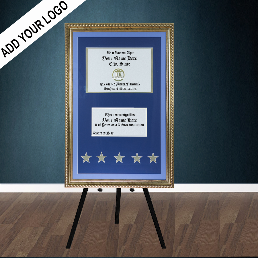 5-Star Gold-Framed Elegant Easel Display in a Two-tone Blue on Blue Matting