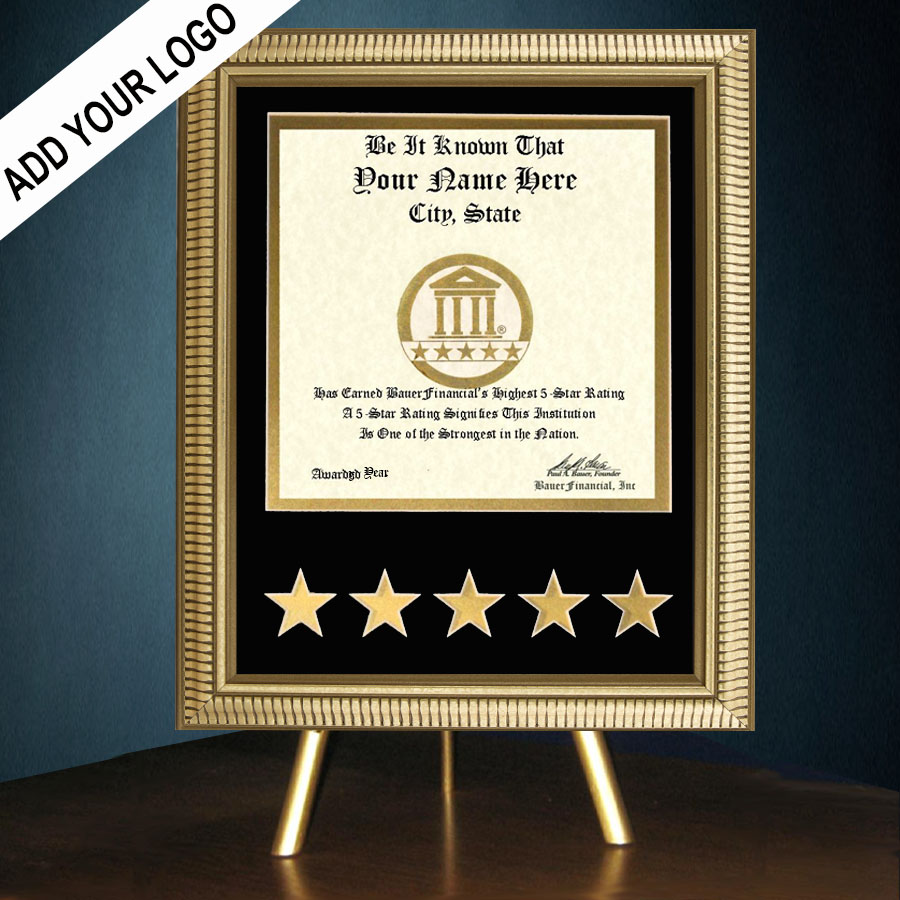 5-Star Gold-Framed Recognition Award in Black Matting on top of a gold table top easel