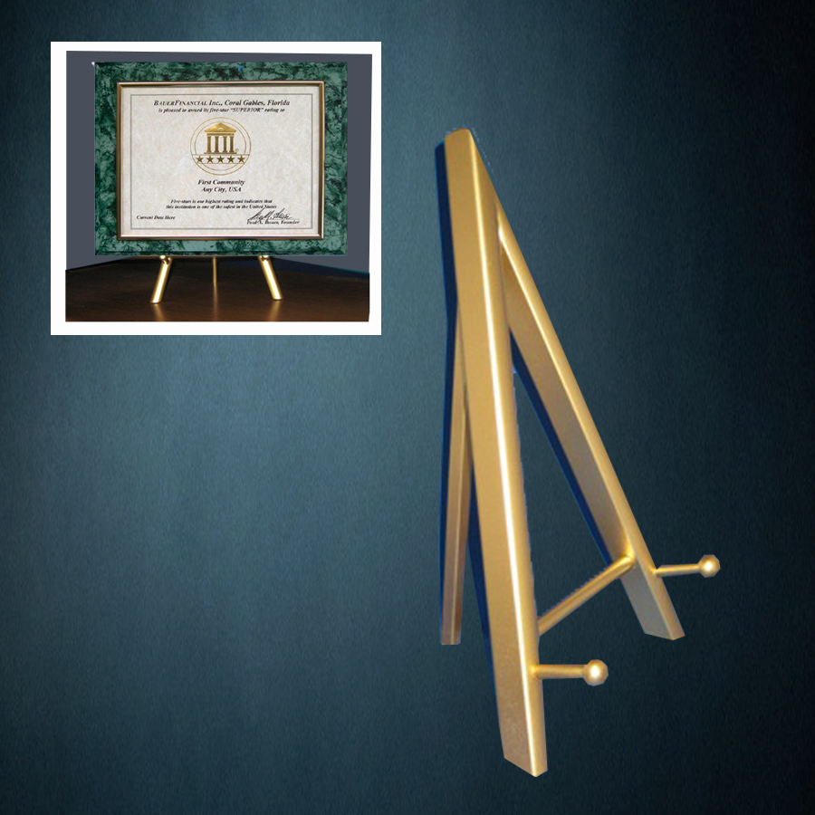 a table-top gold easel in a lightweight wood