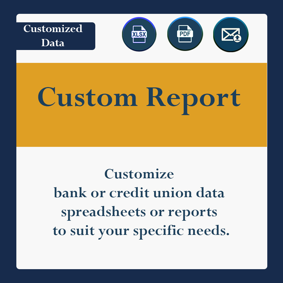 Customize bank or credit union data spreadsheets or reports to suit your specific needs.