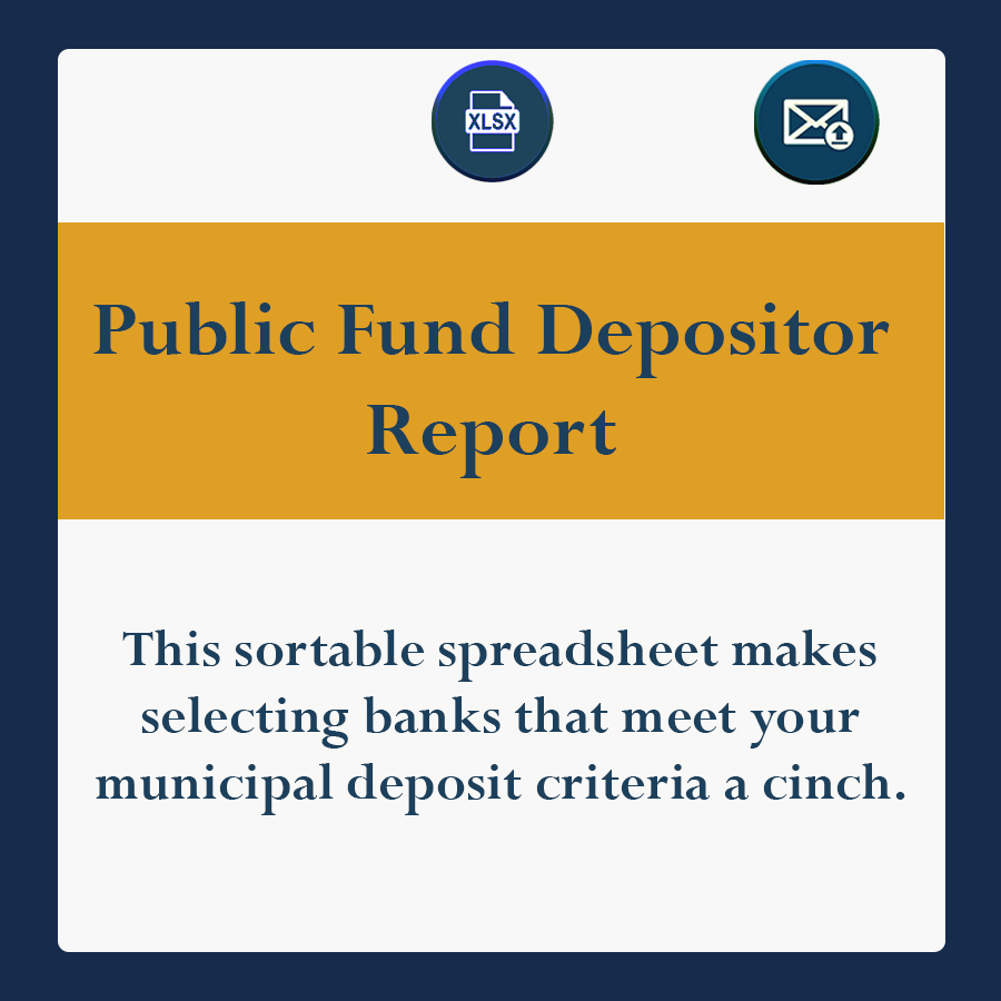This sortable spreadsheet makes selecting banks that meet your municipal deposit criteria a cinch.