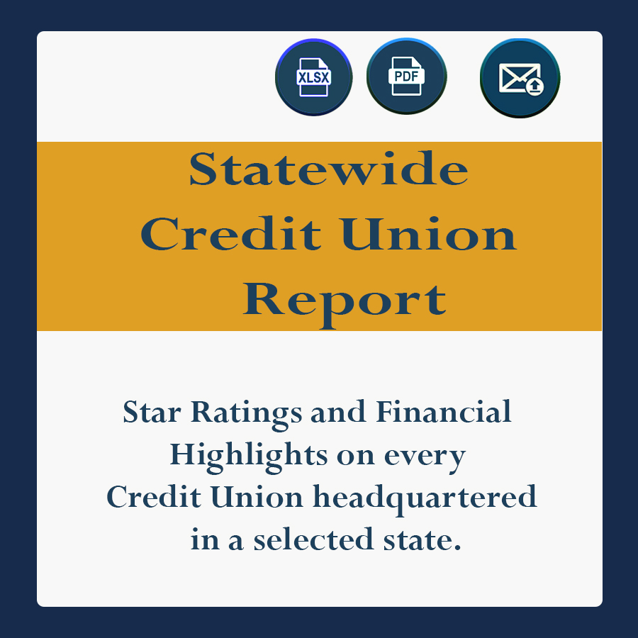 Star Ratings and Financial Highlights on every Credit Union headquartered in a selected state.