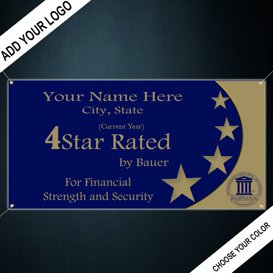 Personalized 4-Star Indoor Outdoor Vinyl Banner is pictured in Blue and Gold