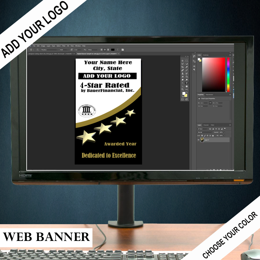 Personalized 4-Star Digital Banner for your website is pictured in Black on the bottom, White on the top and Gold highlights