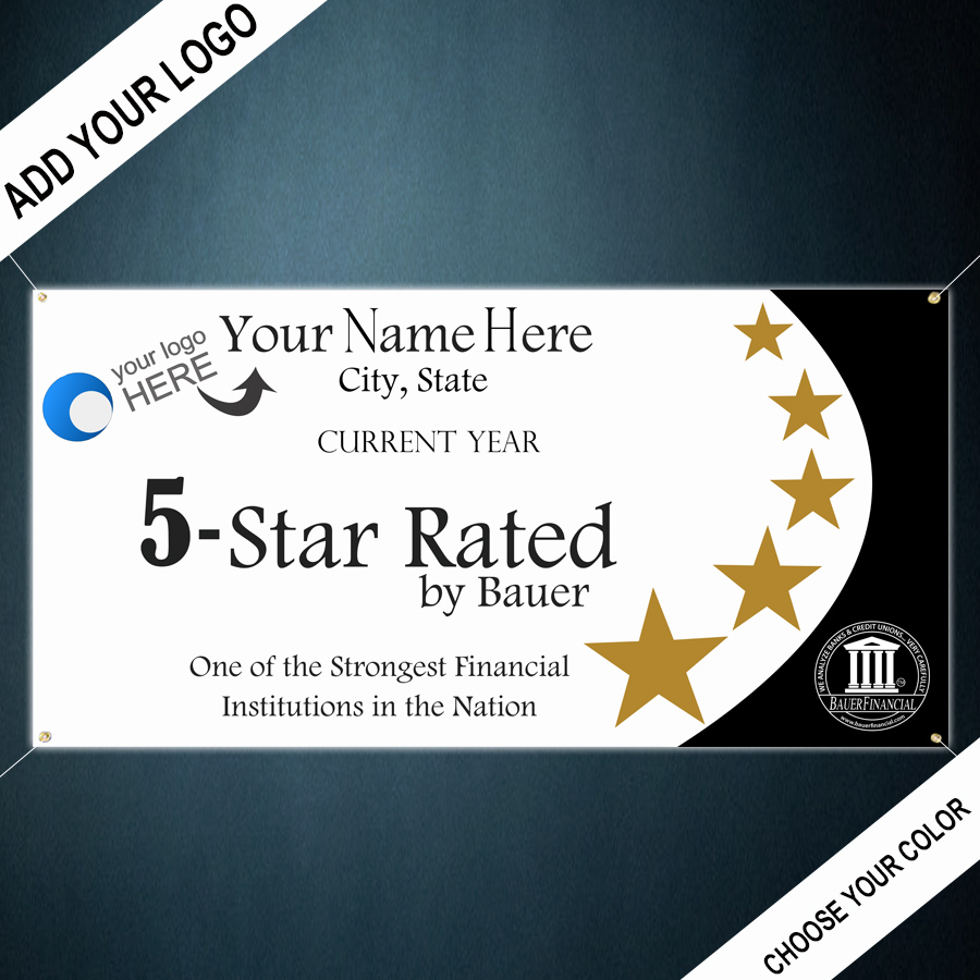 Personalized 5-Star Indoor Outdoor Vinyl Banner is pictured in Blue and Gold