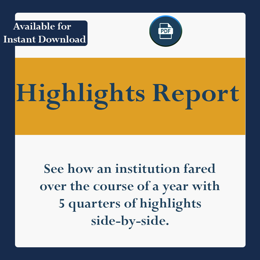 See how an institution fared over the course of a year with 5 quarters of highlights side-by-side.