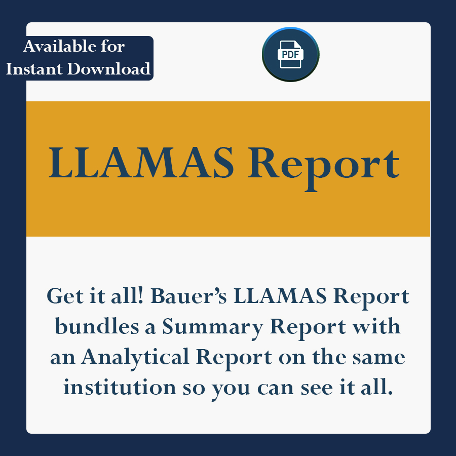 Get it all! Bauer's LLAMAS Report bundles a Summary Report with an Analytical report on the same institution so you can see it all.