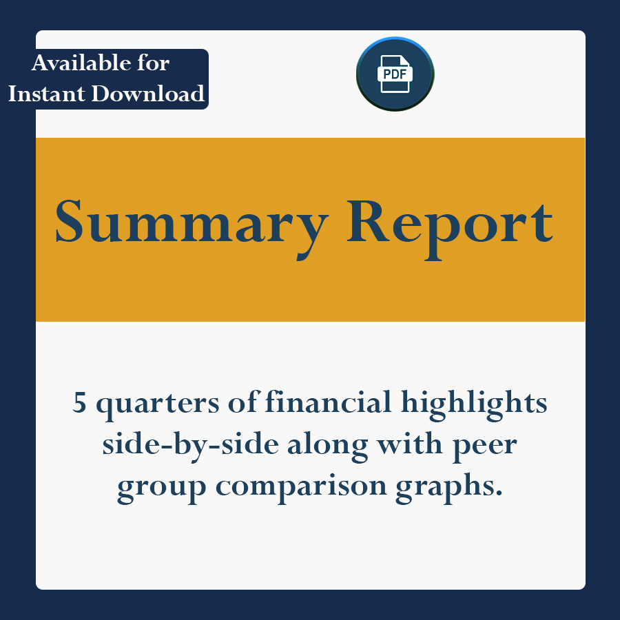 5 quarters of financial highlights side-by-side along with peer group comparison graphs.