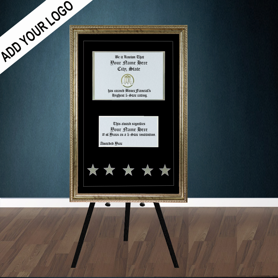 5-Star Gold-Framed Elegant Easel Display in a Black on Black Matting