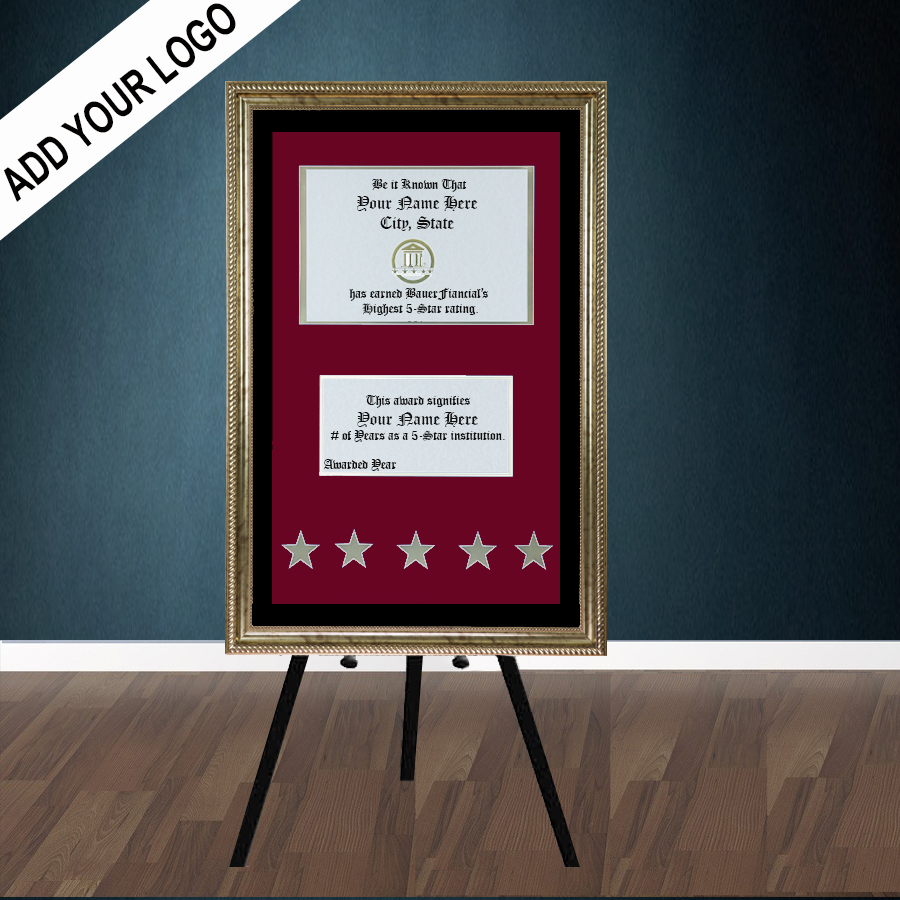 5-Star Gold-Framed Elegant Easel Display in a Crimson on Black Matting