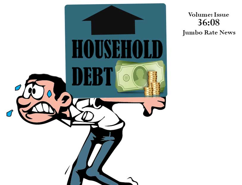 Animated man bent over under the burden of household debt