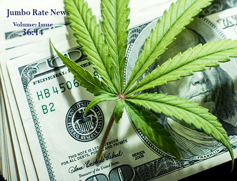 Image of currency overlaid with a marijuana (weed) plant stem