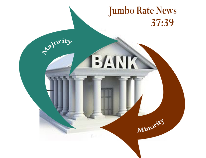 Bank Building with arrows indicating the majority of minority banks belong to one group