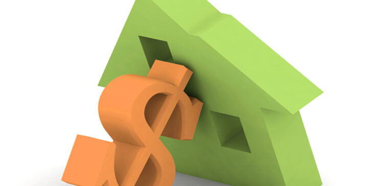 Image of a house tipping over onto a dollar sign